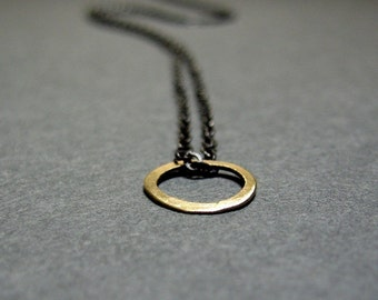 14k gold circle on an oxidized sterling chain necklace little gold O...