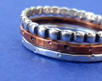 stacker rings mixed metals sterling silver and copper - DOTS