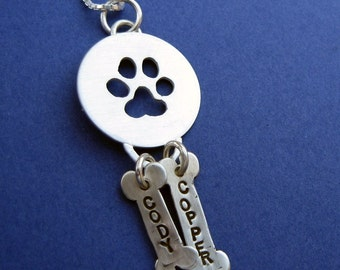 Paw Print Pendant with Two Pet Name Charms- in sterling silver for Dog or Cat Lovers, in memory of