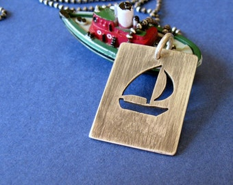 sterling silver sailboat pendant - Come Sail Away