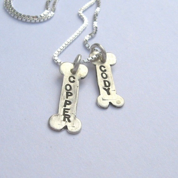 TWO Pet Tags on a Chain- sterling necklace for Pet Lovers