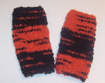 Warm Hand Knit Orange and Black Fingerless Mitten Gloves