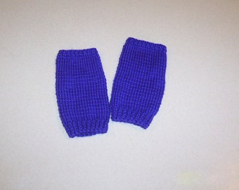 Hand Knit Bright Purple Fingerless Mitten Gloves