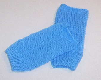 Hand Knit Baby Blue Fingerless Mitten Gloves