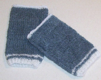 Hand Knitted Gray Fingerless Mitten Gloves