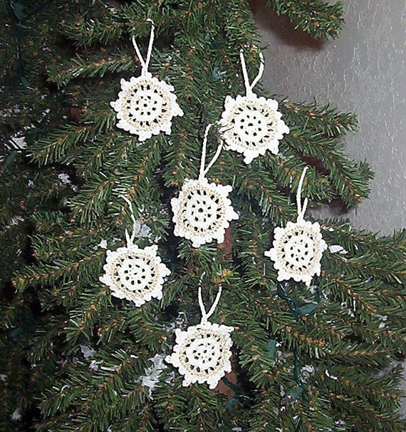 Set of 6 Hand Crochet White Gold Cream Snowflake Ornaments