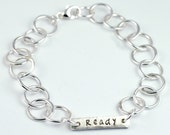 Silver Bracelet - Handstamped Word - WORD of the YEAR for 2015 - Custom Personalized - New Years Resolution - Eco Friendly Metal B1024
