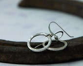 Silver Circle Earrings - Simple and Everyday - Modern Rustic - 100% recycled sterling silver