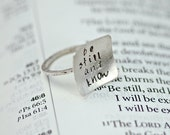 Quote Ring - Square Ring -Be Still and Know - Bible Verse or Quote - Geometric Ring - Modern Ring - Recycled Sterling Silver R4028