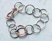 Silver Link Bracelet - Silver Chain Bracelet - Mixed Metal Bracelet - Sterling Silver Bracelet - Copper - Friendship bracelet  Everyday 1012