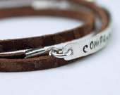Leather Wrap Bracelet - Silver Bracelet in Brown Leather with Custom Personalized Handstamped Recycled Sterling Silver bar