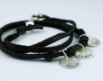 Mom Necklace in Black Suede Leather -  Hand Stamped - Personalized - Custom - great gift for mom