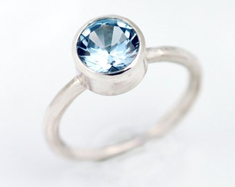 Aquamarine Ring -  March birthstone -  Genuine 8mm aquamarine set in EcoFriendly Sterling Silver - Alternative Engagement Ring - R4085