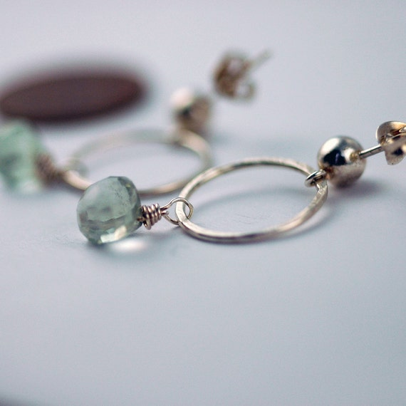 Gemstone Earrings on posts - Wire Wrapped Green Garnets - Recycled Sterling Silver - one of a kind - CLEARANCE sale