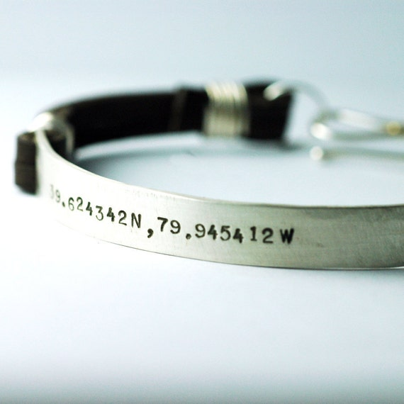 mens silver leather cuff bracelet custom personalized