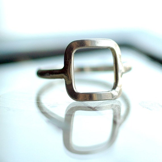Square Ring - Silver Square Ring - Geometric Ring - Geometric Jewelry - Delicate Ring - Sterling Silver Ring - Modern Trendy Ring R4020