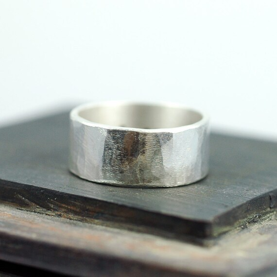 Wide Band Ring - Wide Silver Ring - WIDE Band Silver Ring - Unisex Ring -  Wedding Band - Wedding Band Mens - 10mm wide - EcoFriendly  R4049