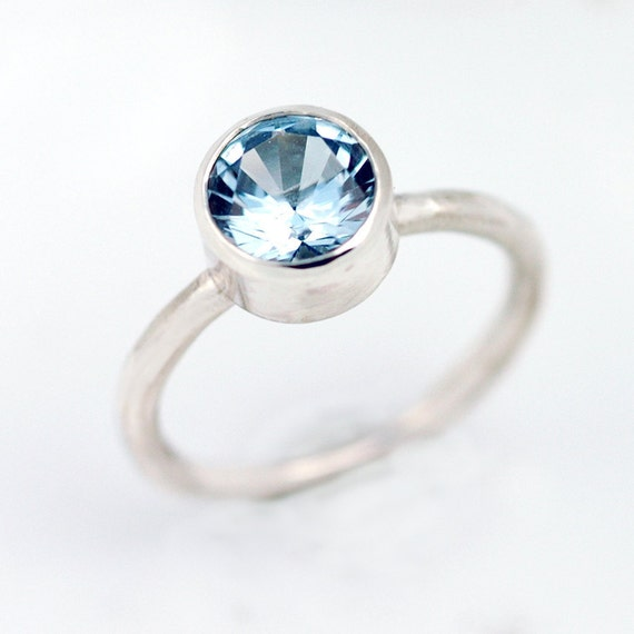 Aquamarine Ring -  March birthstone -  Genuine 8mm aquamarine set in EcoFriendly Sterling Silver - Alternative Engagement Ring - R4085