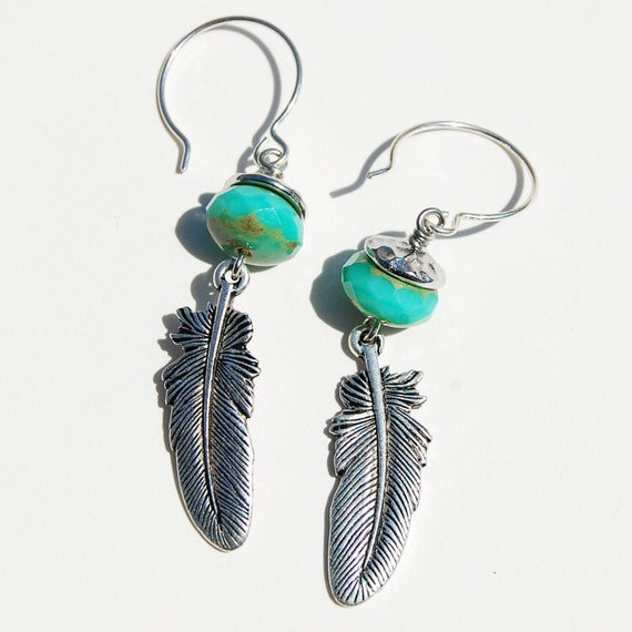 Turquoise Earrings with Feather Drop
