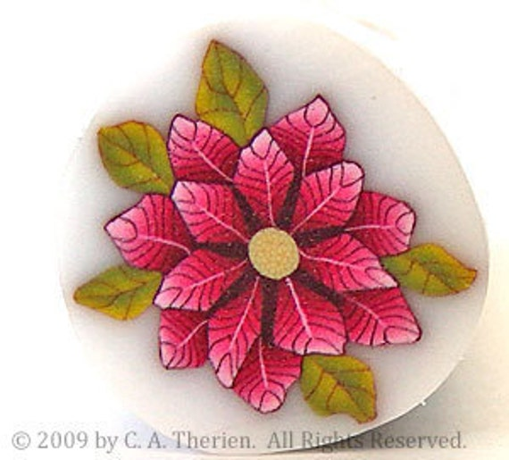 RAW Red Poinsettia Polymer Clay Cane