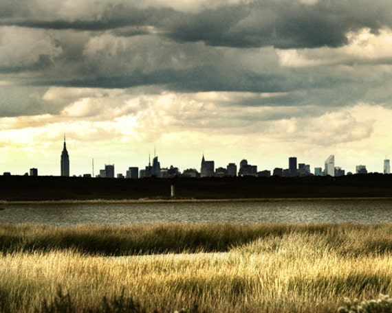 """NYC Skyline,Office Art, Urban photography, Landscape Photography, Industrial Decor, Office Decor - """"The Apple by the Shore"""""""