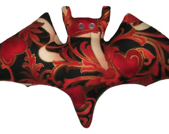 Black and Red Heart Bat Pillow