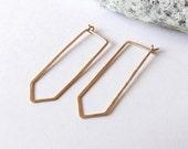 no. 430 - hammered brass quartz hoop earrings