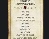 County Commandments Print Primitive Style
