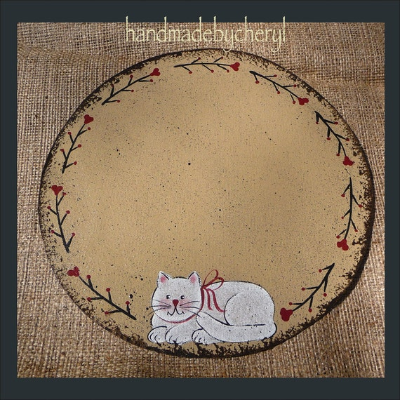 White Cat Candle Mat with Handpainted Twig Vine Folk Art Primitive Country