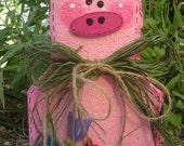 Yard Art, Garden Decor, Garden Decoration, Outdoor Decor, Percy Pig Patio Person Weather Resistant Painted Concrete Paver