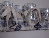 Triple Mason Jar Wall Vase-Shabby Elegance Collection French White Mason Jar and Fleur de Lys Wall Decor
