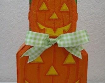 Yard Art, Garden Decor, Garden Decoration, Outdoor Decor Stacked Pumpkins Patio Person Halloween Weather Resistant Painted Concrete Paver