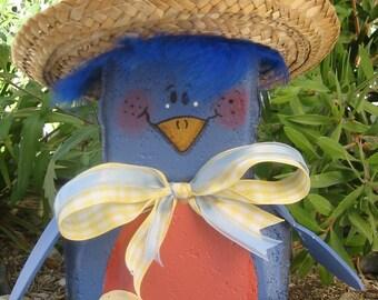 Yard Art, Garden Decor, Garden Decoration, Outdoor Decor, Betty Bluebird Patio Person Weather Resistant Painted Concrete Paver