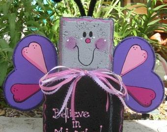 Yard Art, Garden Decor, Garden Decoration, Outdoor Decor, Flutterbye Butterfly Patio Person Weather Resistant Painted Concrete Paver