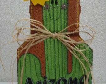 Yard Art, Garden Decor, Garden Decoration, Outdoor Decor, Arizona Cactus Patio Person Weather Resistant Painted Concrete Paver