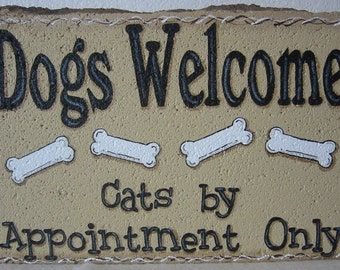 Dog Lover Gift, Yard Art, Dogs Welcome Cats by Appointment Only Stone Garden Art Outdoor Decoration Garden Decor