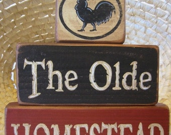 Country Decor, Shelf Sitter, Wood Shelf Stacker Blocks Primitive Home Decor - The Olde Homestead Rooster Decor Rustic Decor Farm Decor