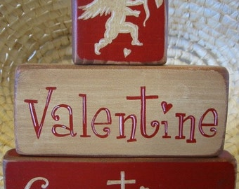 Valentine Greetings Primitive Shelf Stacker Blocks 3 Pieces