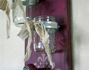 Mason Jar Decor, Farmhouse Decor, Mason Jar Wall Decor, Mason Jar Wall Sconce, Double Mason Jar Wall Vase-Boysenberry -READY TO SHIP