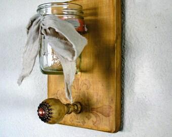 Mason Jar Decor, Farmhouse Decor, Mason Jar Wall Decor, Mason Jar Wall Sconce, Mason Jar Wall Vase, Gift for Her, Kitchen Decor