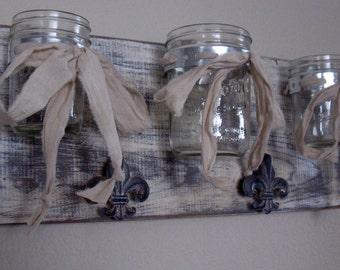 Mason Jar Decor, Farmhouse Decor, Mason Jar Wall Decor, Mason Jar Wall Sconce, Triple Mason Jar Wall Vase- French White Fleur de Lys