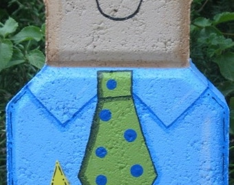Yard Art, Garden Decor, Garden Decoration, Outdoor Decor, Man Family Member Custom Patio Person Weather Resistant Painted Concrete Paver