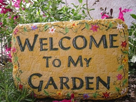 Welcome to my Garden 6x9 Rectangular Expression Stone Garden Art Outdoor Decoration Garden Decor