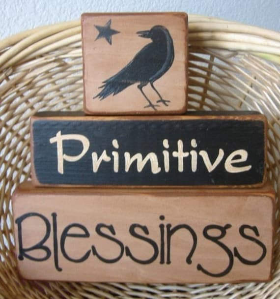 Primitive Blessings Country Shelf Stacker Blocks 3 Pieces