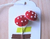 Pair of Mushroom Pins (stuffed) - made to order