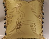 Gold Silk Pillow with Luxury Blue Bead Fringe Edging