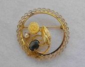 Vintage Brooch, Yellow Gold Filled, Filigree, Bone, Pearl, Jade, Signed, ca 1970s LK-84