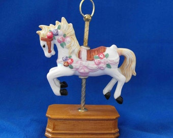 Vintage Carousel Pony & Stand, Miniature, ca 1980 NT-361
