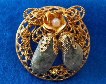 Vintage Brooch, Jade, Cultured Pearl, Gold Plated Filigree, ca 1970