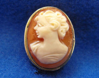 Antique Cameo, Victorian, Brooch/Pendant, Genuine Shell, Hand Carved, 800 Silver, Gold Accent, ca 1900-1910 NT-506